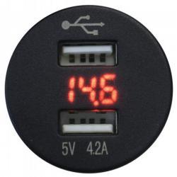 4Connect 2 x USB + Digitale Voltmeter Rond